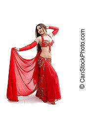 barriga, dançarino, vermelho