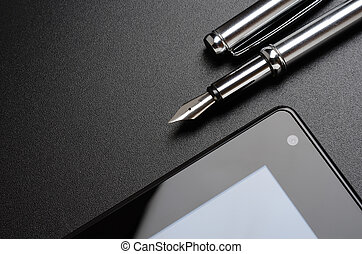 tablet, fountain pen - Business still life: tablet, fountain...