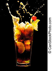 Splashing Cuba Libre Cocktail - Cuba Libre Cocktail with...