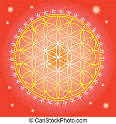 Flower of life in red space-vector illustration-for...