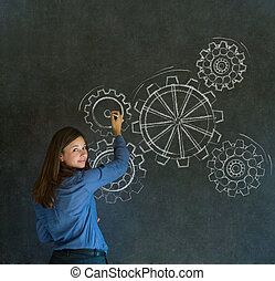 Woman thinking with turning gear co - Attractive beautiful...
