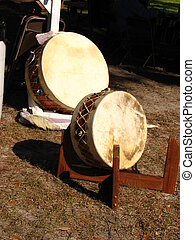 Powwow Drums - Powwow drums at local gathering at Chambers...
