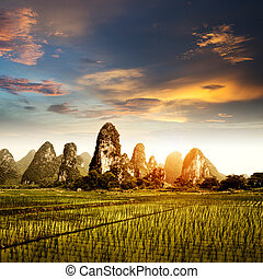 Sunset in the countryside landscape