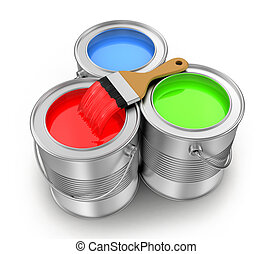 paint cans with a paintbrush