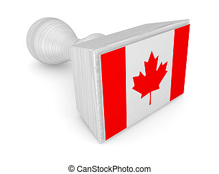 Wooden stamp with canadian flag.Isolated on white...