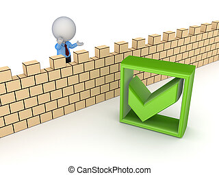 3d small person behind the wall and tick markIsolated on...
