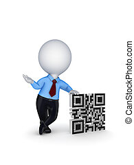 3d small person and symbol of QR codeIsolated on white...