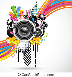 Colorful Music - illustration of abstract musical background...