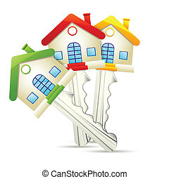 Dream Home key - illustration of dream home key on white...