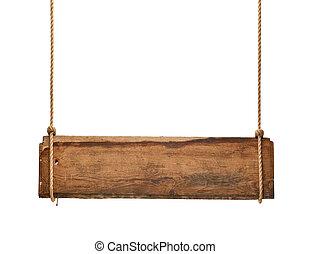 木制, 簽署, 繩子, 背景, 懸挂, 消息