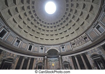 Pantheon - Inside the Pantheon, Rome, Italy. Ancient Roman...