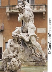 Neptune - Statue of Neptune in the Fontana di Nettuno in...