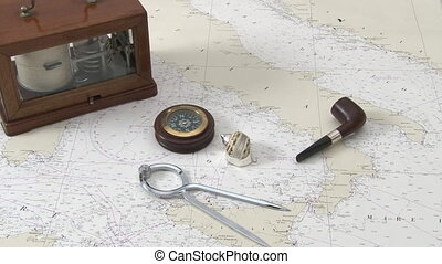 Navigation instruments on a map