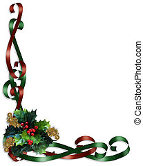 Christmas Border Ribbons and Holly - Christmas design holly...