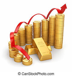 Business concept. Grow in the gold price. 3d