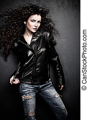 girl in leather jacket - attractive long hair young woman in...
