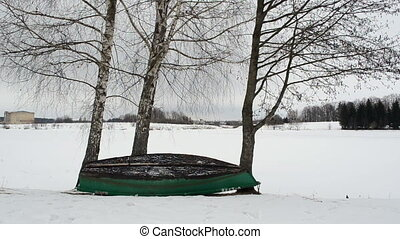 boat winter tree lake