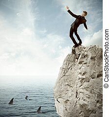 Risk in business - Concept of risk in business with falling...
