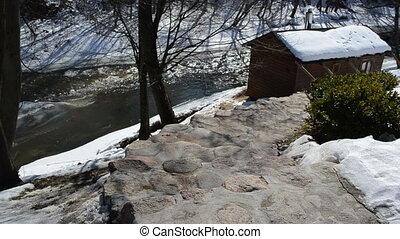 bathhouse winter river