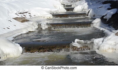 brook stair water winter
