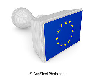 Wooden stamp with european flag.Isolated on white...