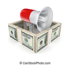 Megaphone behind a wall of money.Isolated on white...