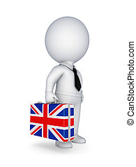 Suitcase with flag of England - 3d small person with...