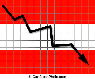 The Austrian flag and arrow graph going down