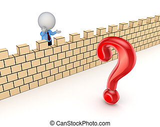 3d person behind the wall and red query mark - 3d small...