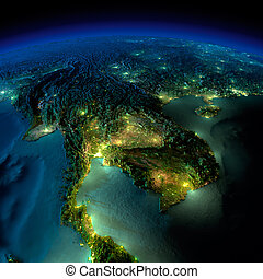 Night Earth. A piece of Asia - Indochina peninsula - Highly...