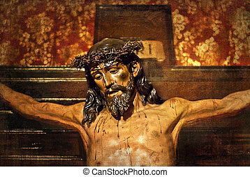 Jesus on the cross, carved in polychrome wood