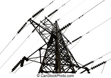 Electrical tower on white background