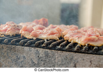 Barbecue - Closeup Of Raw Chicken Meat On Barbecue