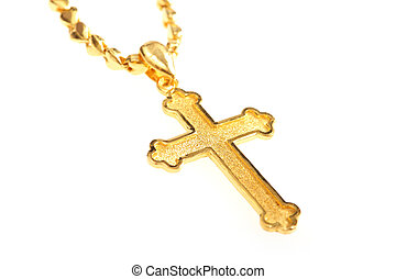 golden christian crosses with chain isolated on white...