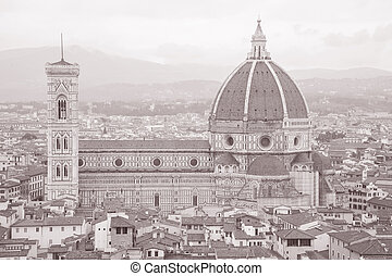 Dome of Duomo Cathedral Church, Florence in Black and White...