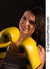 Boxing sports trainer female - A high resolution image of a...