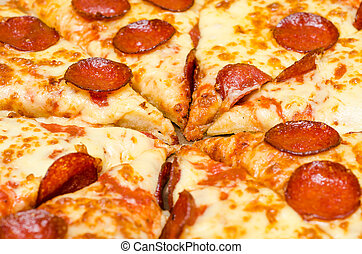 Pepperoni Pizza - Closeup Photo Of Pepperoni Pizza Slice