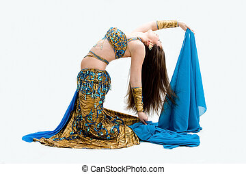 Belly dancer in blue - Beautiful belly dancer in blue outfit...