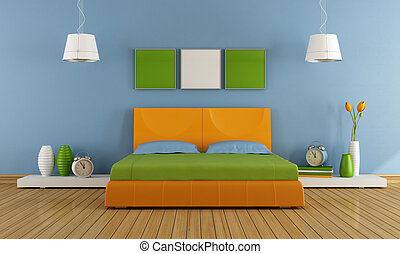 Colorful contemporary bedroom - Contemporary bedroom with...