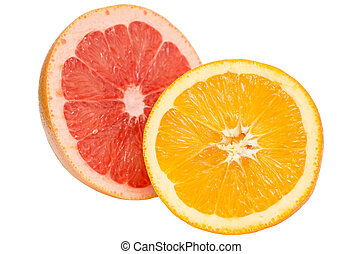 Tropical Fruits (Pink Grapefruit and Orange) Isolated On...