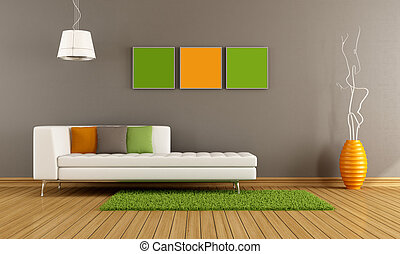 Colorful modern living room - Modern living room with white...