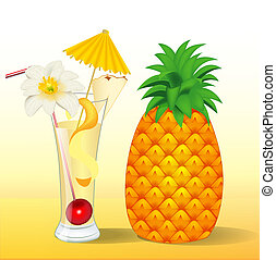 of pineapple juice in a glass with a flower - illustration...