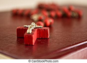 perline, rosso,  bibl, catena, crocifisso