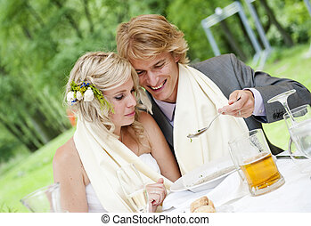 Wedding reception - Bride and groom are at the wedding...
