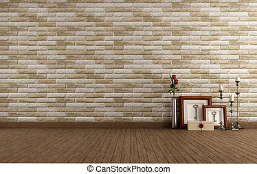Empty vintage room with brick wall