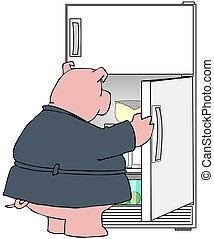 Pig looking in a refrigerator - This illustration depicts a...