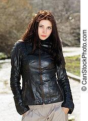 Pretty brunette wearing jacket - Pretty brunette wearing...