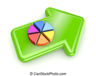 Colorful graph on green arrowIsolated on white background