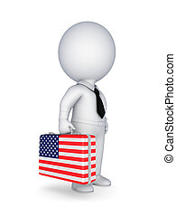 Suitcase with flag of USA - 3d small person with suitcase...