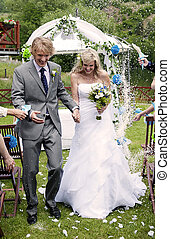 Wedding - Bride and groom at the beautiful wedding venue in...